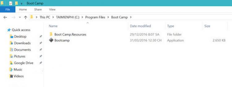 Truy cập vào thư mực mặc định của Bootcamp trên Windows.