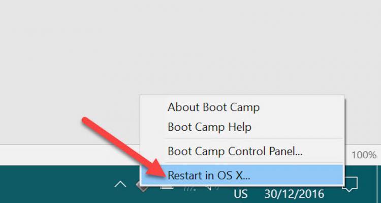 Nhấn chuột phải vào biểu tượng Bootcamp và chọn Restart.